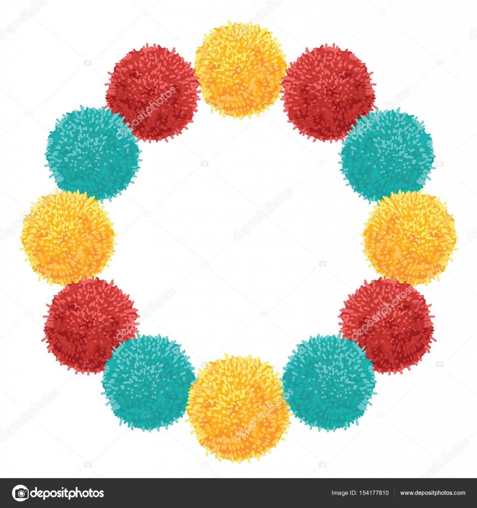 Corona grueso vector con colorido vibrante cumpleaños fiesta Pom ...