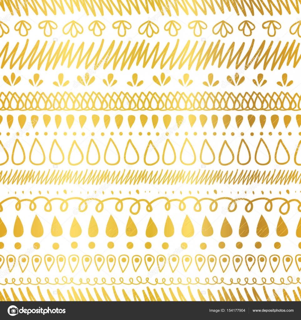 Vector de oro y blanco decorativo Ikat rayas Resumen de patrones sin ...