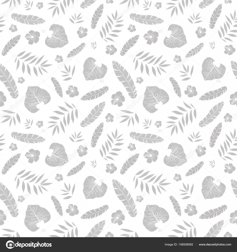 Vector silver grey tropical summer hawaiian seamless pattern with vector silver grey tropical summer hawaiian seamless pattern with tropical plants leaves and hibiscus flowers on white background mightylinksfo