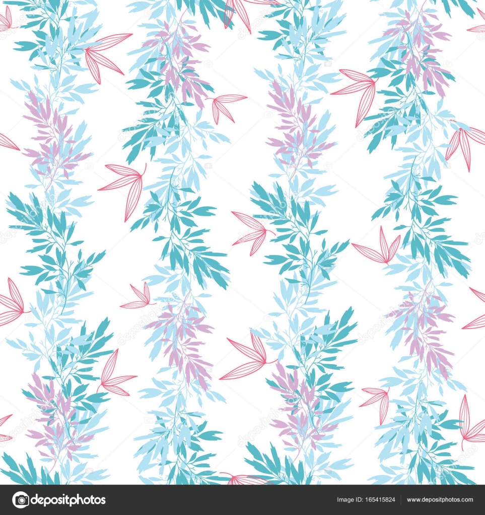 Vector blue pink tropical leaves summer vertical seamless pattern ...