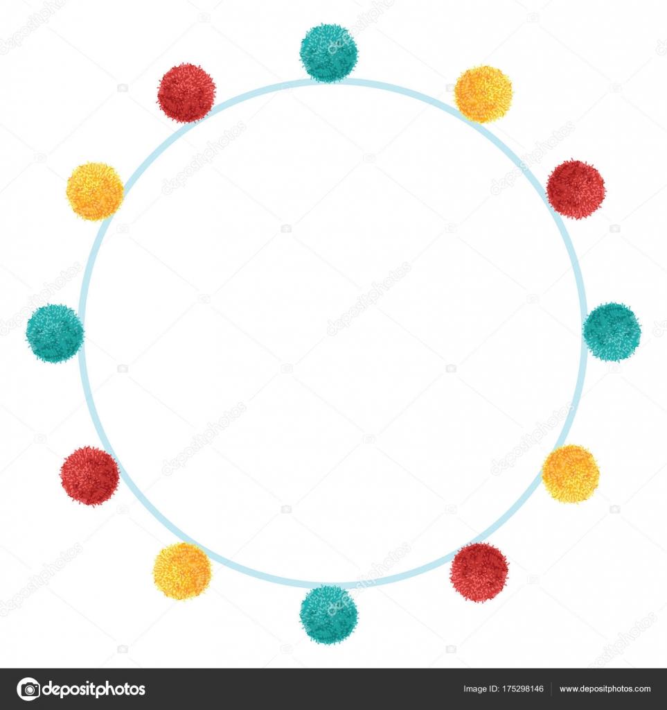 Vectorial divertido cumpleaños de vibrante colorido partido Pom Poms ...