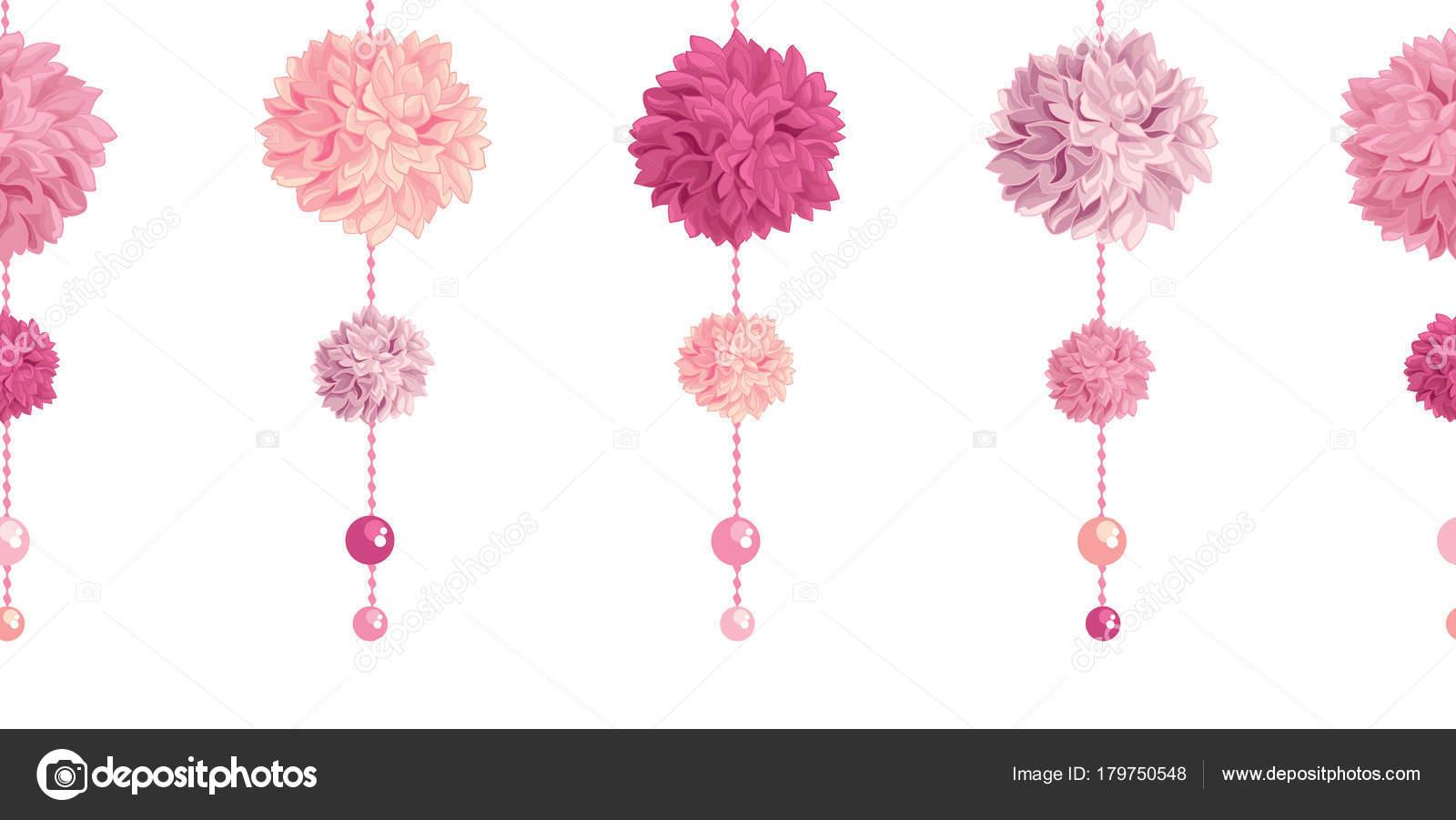 Granos y vector colgando rosados cumpleaños papel del partido ...