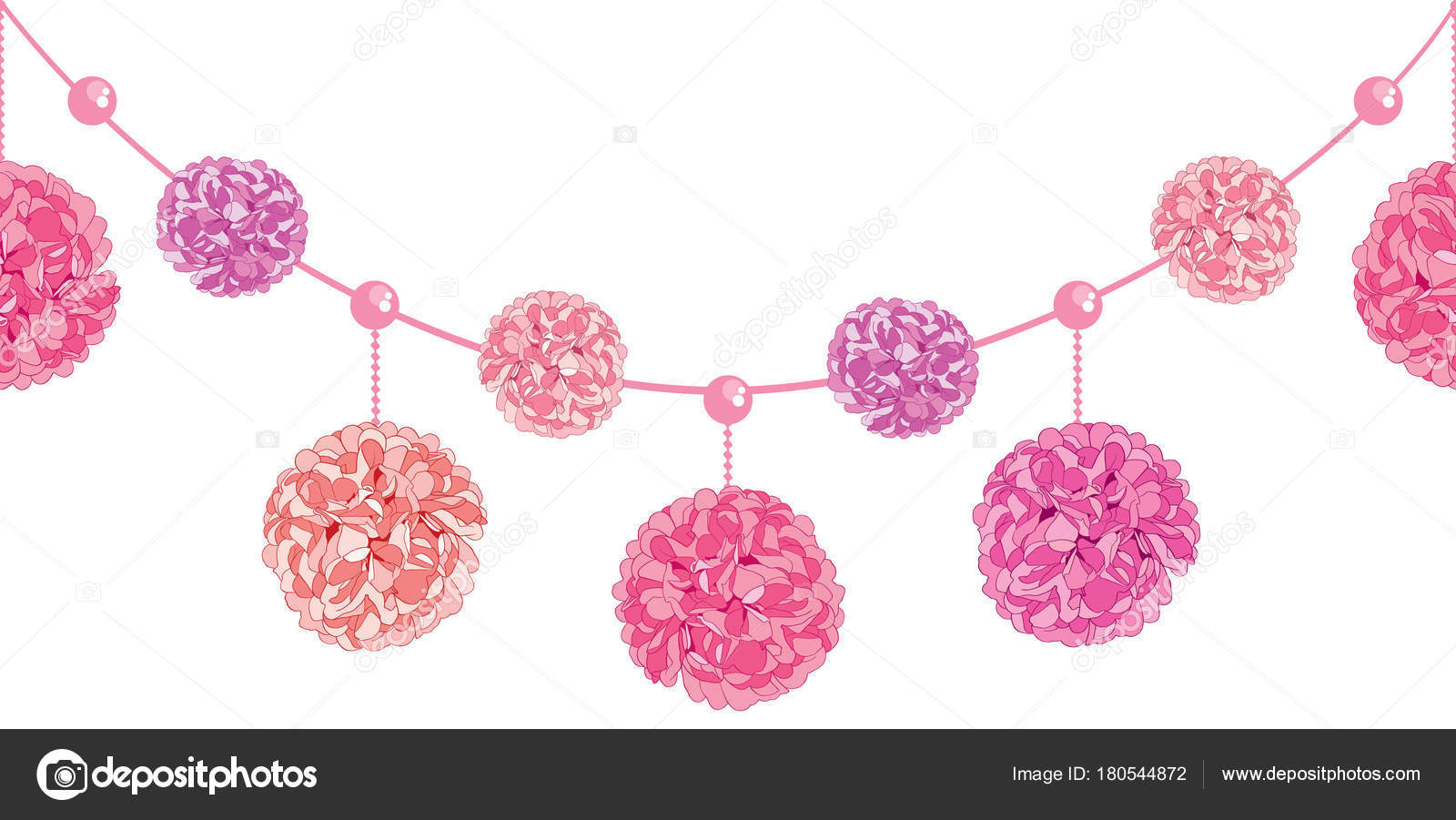 Vector conjunto de colgantes cumpleaños de rosa pompones de papel ...
