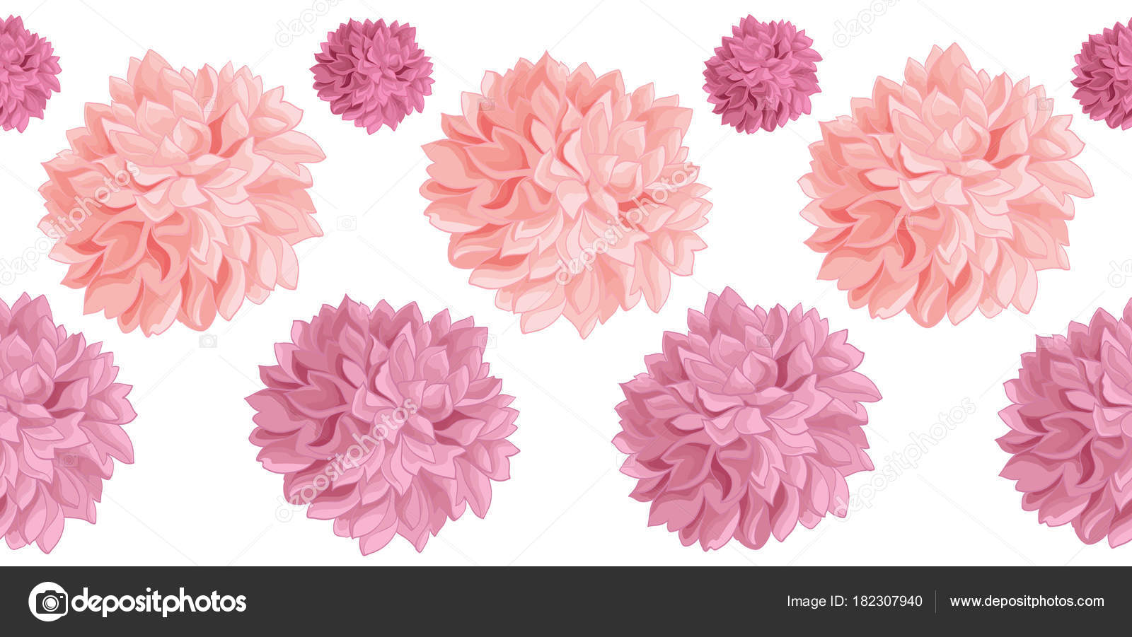 Vector Set Of Pink Birthday Party Paper Pom Poms Set Horizontal
