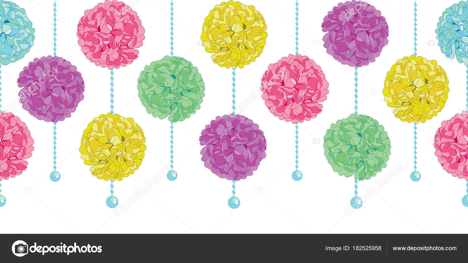 Vector Party Set of Hanging Pastel Colorful Birthday Party Paper Pom ...