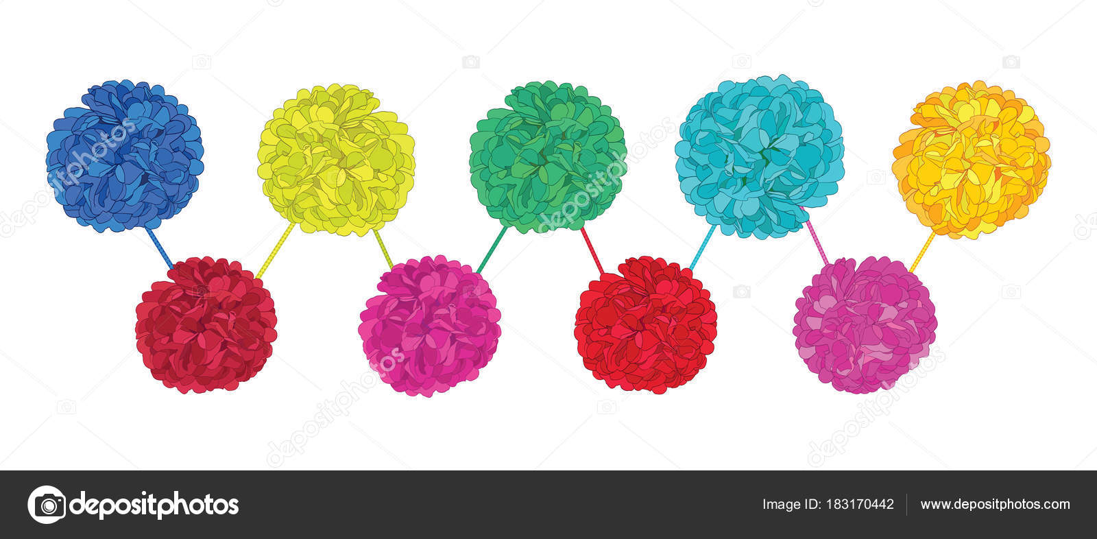 Vector Set of Happy Colorful Birthday Party Paper Pom Poms. Great ...