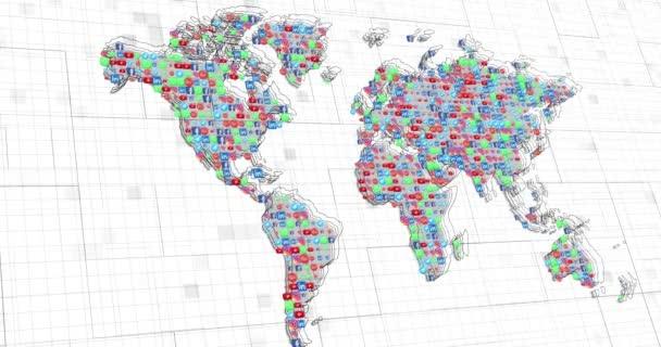 Pozadí mapy světa sociálních médií. Pohybová grafika 4k pozadí.