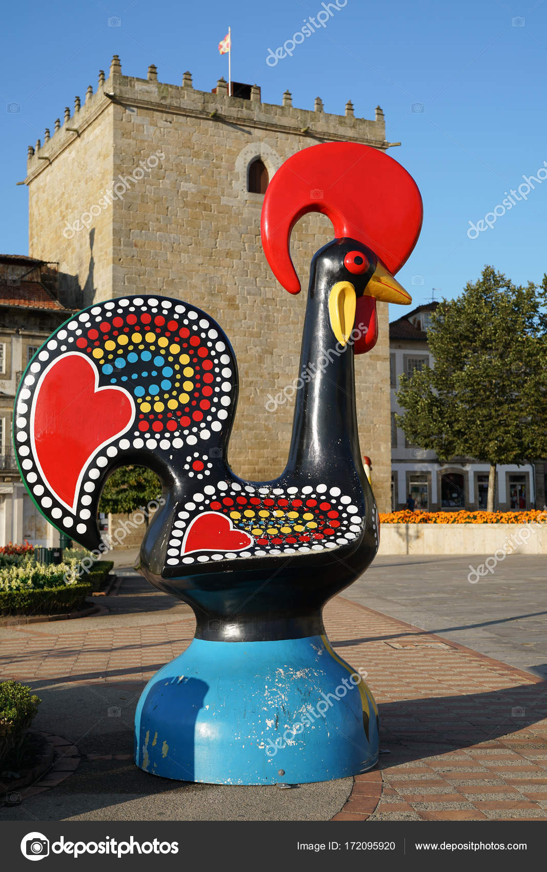 Statue Of The Cock Of Barcelos Portugal Stock Editorial Photo