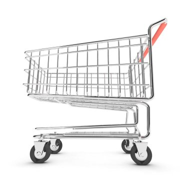 3d render of a shopping trolley from a low angle stock vector
