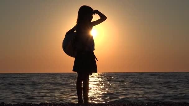 Child on Beach Seashore at Sunset, Little Girl Playing on Coastline Sea Waves