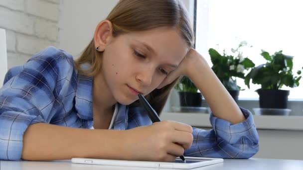 Child Studying on Tablet, Girl Writing in School Class, Learning Doing Homework