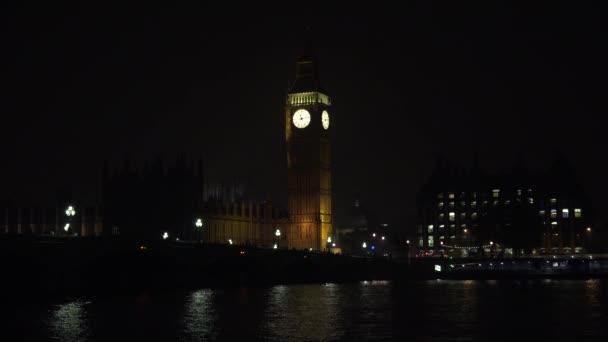 Big Ben London in Night, Traffic on Westminster Bridge, British Old Clock