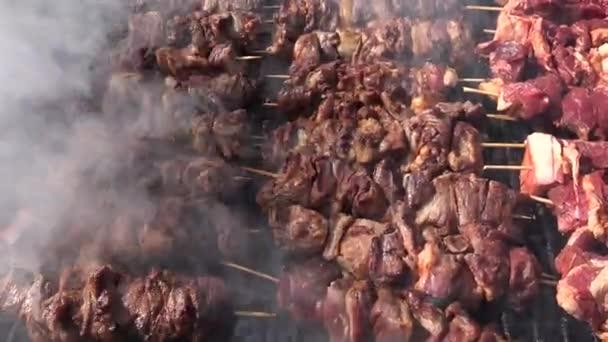 4k Grilování s čerstvým masem, velký gril se Skewers, kuřecí kebab na piknik