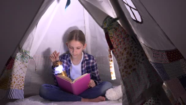 Kid Reading, Child Studying in Night, Teenager Girl Playing in Playroom, Learning in Tent