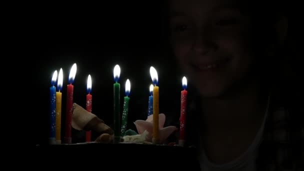 Kid Birthday Party Blowing Candles in Night, Child Celebration, Teenager Girl Anniversary in Dark