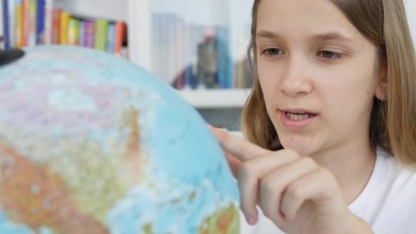 Kid Studying Earth Globe, Child in School Class, Girl Learning, Student Library