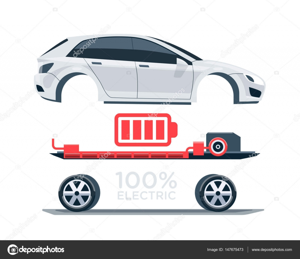 Electric Car Scheme Simplified Diagram of Components — Stock Vector ...