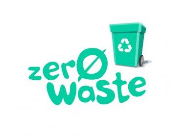 Zero Waste Title Sign with Garbage Bin