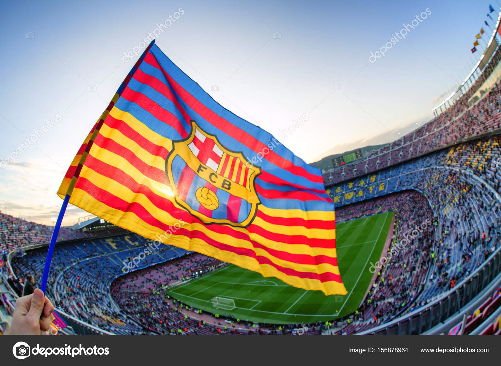 flag of fc barcelona at stadium nou camp  u2013 stock editorial photo  u00a9 jarino  156878964