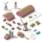 Sada 3d izometrické prvky pro infografiky farmě nebo hry. Vektorové ilustrace izolované objektu na bílém pozadí