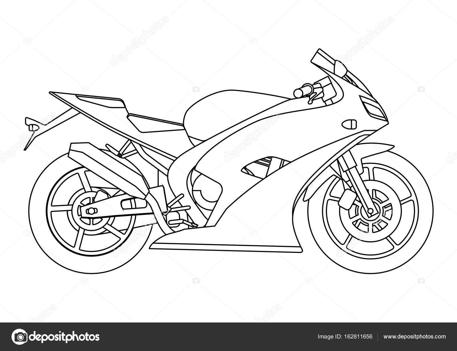 Hand Tekenen Stijl Van Een Vectorillustratie Nieuwe Motorfiets Voor