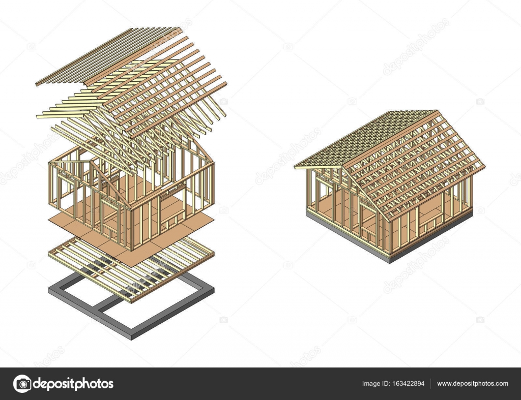 House wood frame construction. Banner for the site of a construction ...