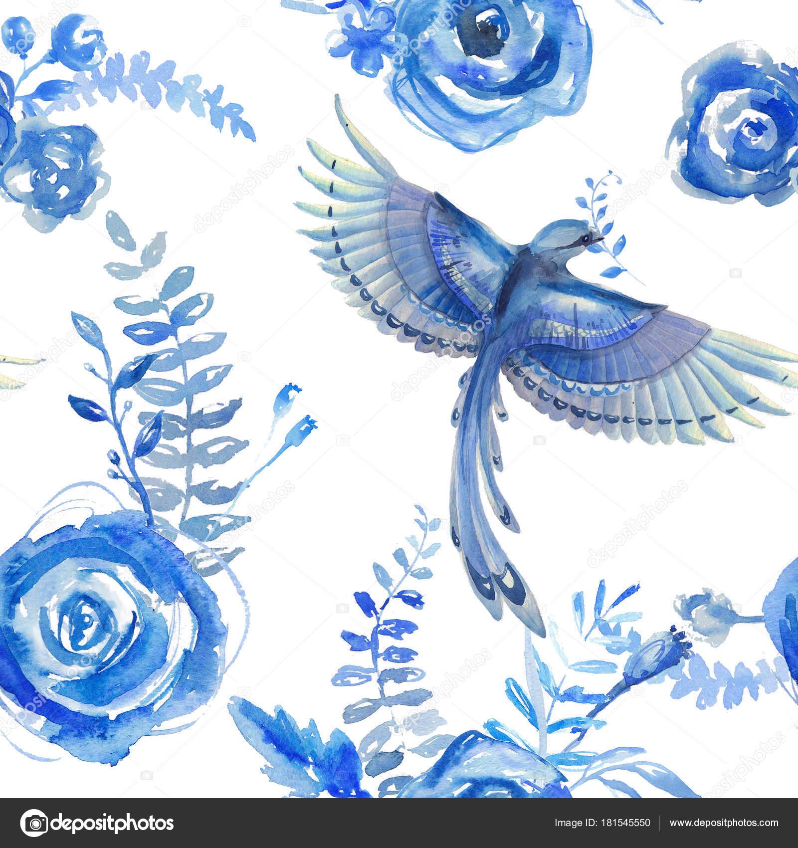 646aae8976b9 Aquarell Blumenmuster Textur Mit Blumen Und Vögel Blauen Blumenmuster Natur  — Stockfoto