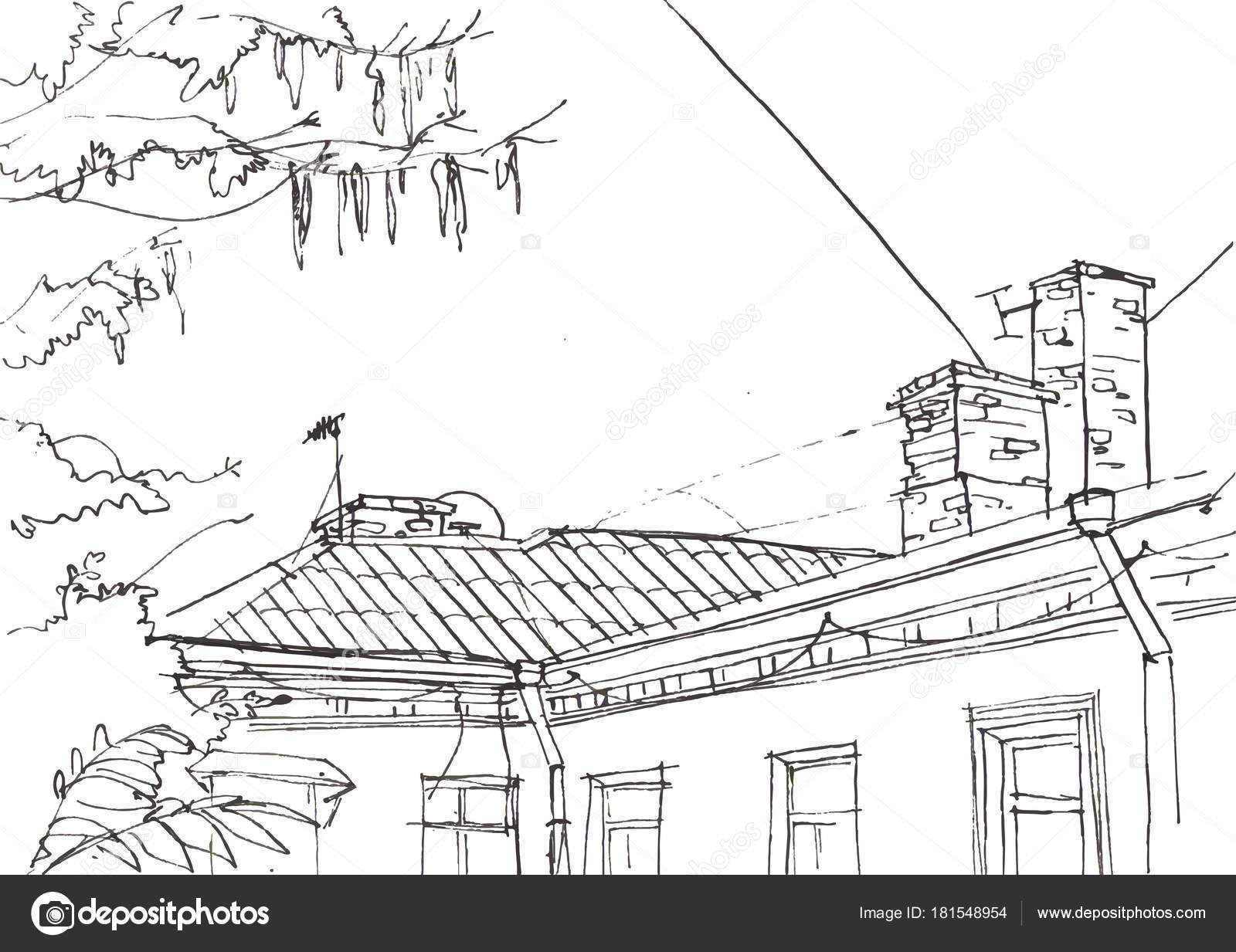 Architektur Skizze Handgezeichnete Vektor Illustration Doodle ...