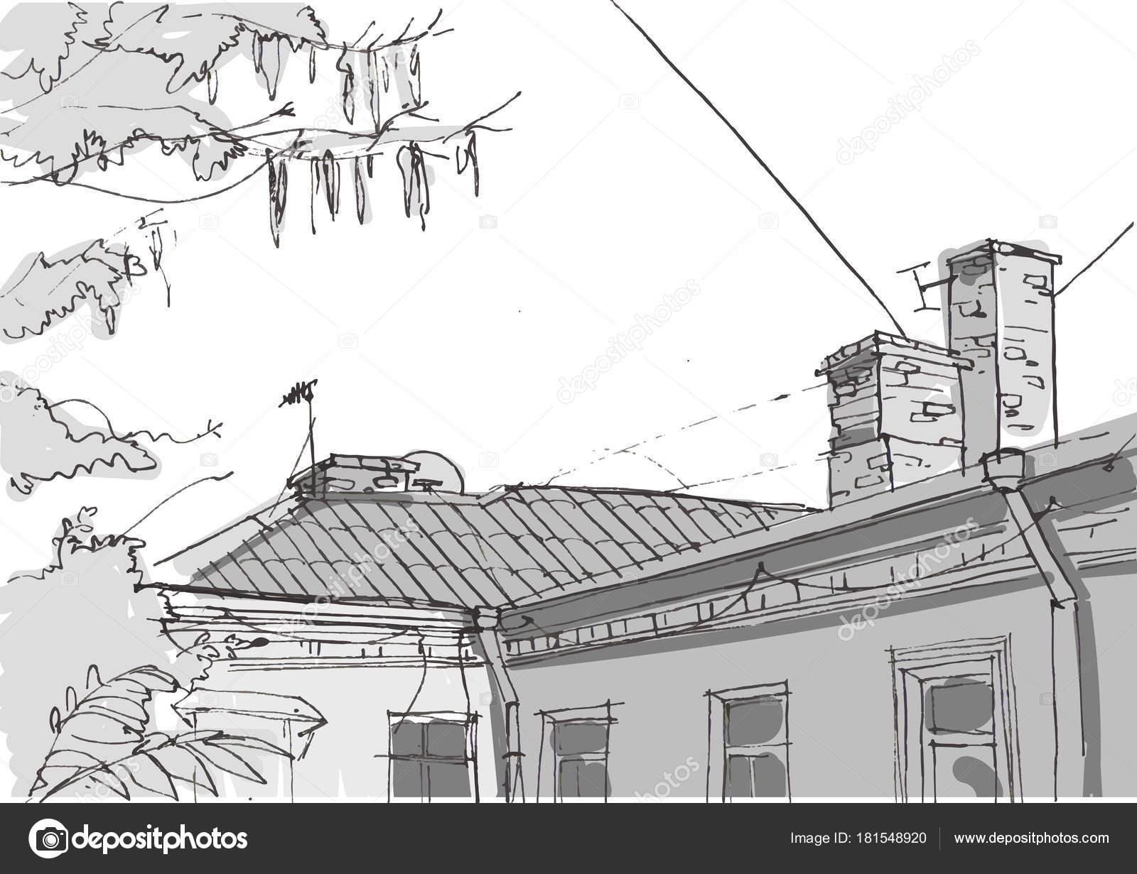 Architektur Skizze Handgezeichnete Vektor Illustration Doodle Zeichnung Elemente Von Kizim