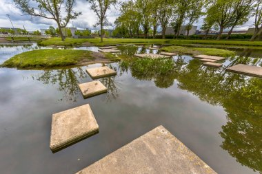Stepping stones in pond of public park