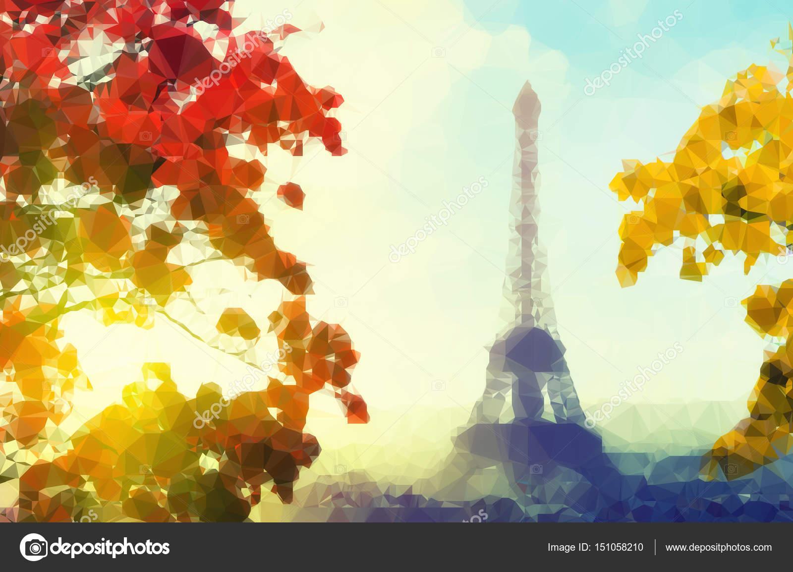 Paris Eiffel Tower Desktop Wallpaper Vintage Colored Abstract