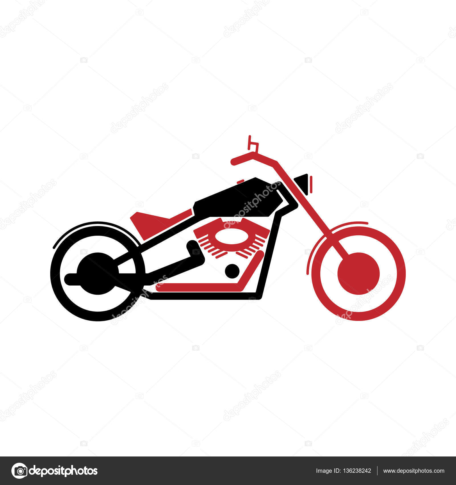 Einfaches Motorrad in schwarz und rot — Stockvektor © WhiteNose ...