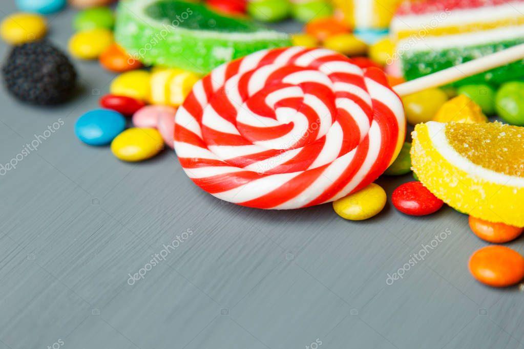 Mixed colorful fruit bonbon and lollipops