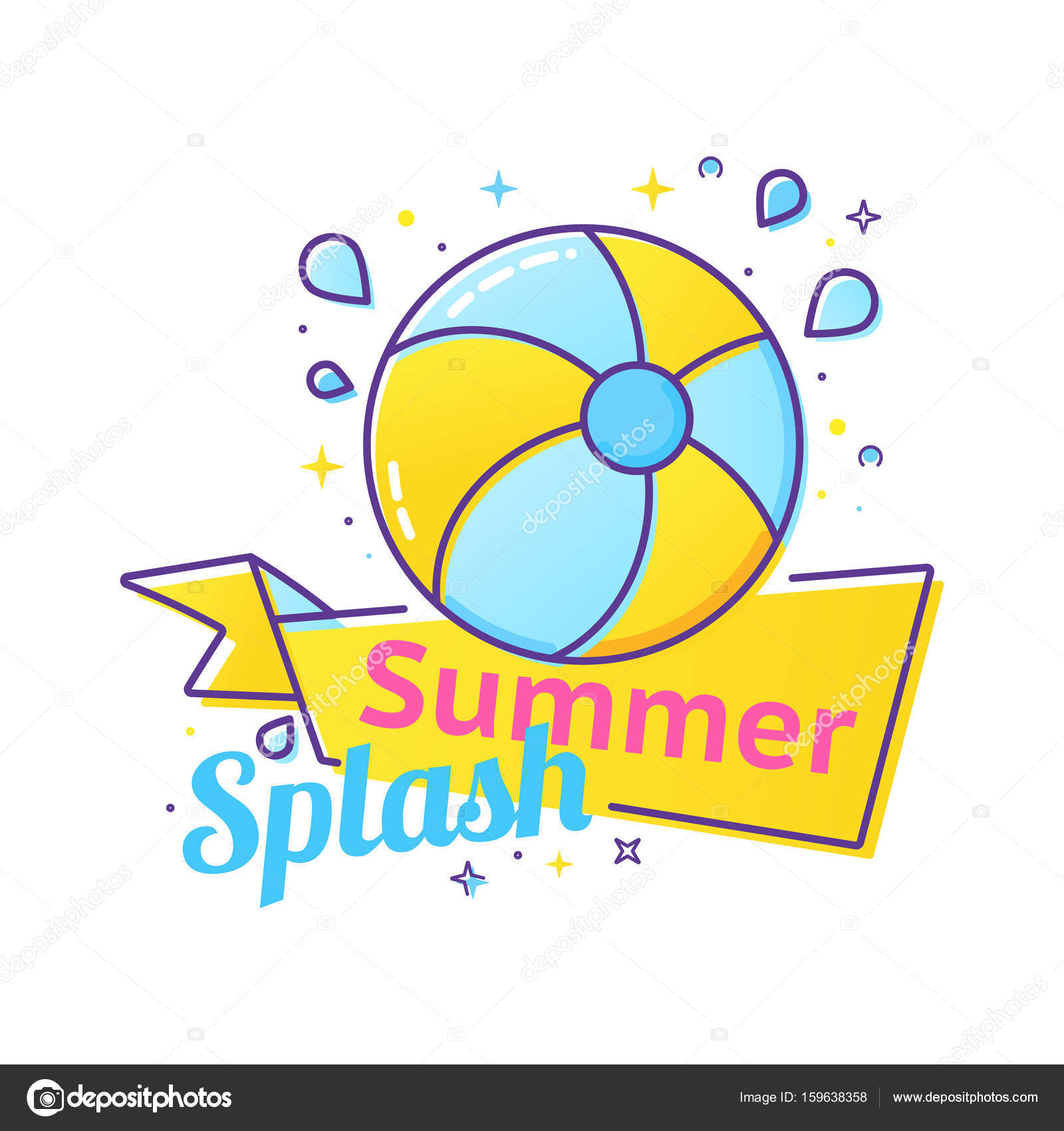 pool splash vector.  Pool Pool Party Label With Inflatable Ball And Splash In Swim Pool Water U2014  Stock Vector On Splash R