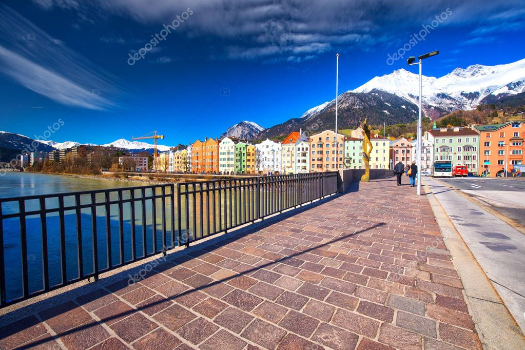 INNSBRUCK, AUSTRIA - March 11, 2017 - City scape in Innsbruck city center. It is capital city of Tyrol in western Austria, Europe.