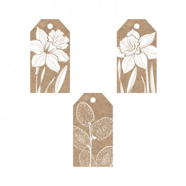 tags with daffodils and twigs willow