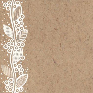 vertical floral ornament on kraft paper