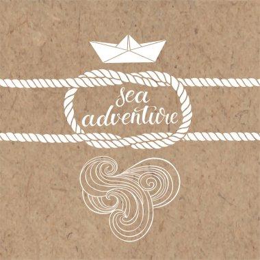 Sea adventure. Marine monochrome background