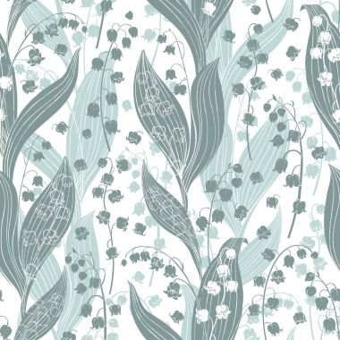 Lilies of valley seamless pattern