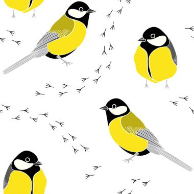 Seamless pattern with birds and traces on white background