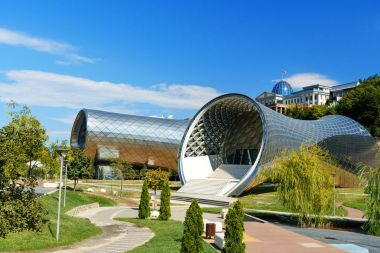 View of Rike Park with Concert Music Theatre Exhibition Hall in Tibilisi, Georgia