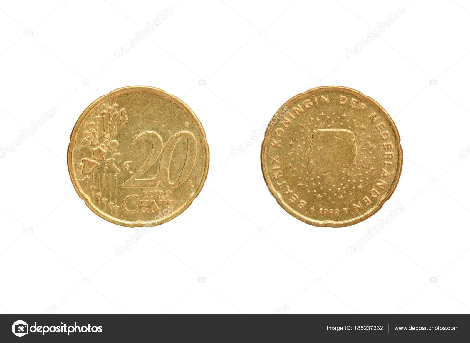 20 Euro Cent Münze Auf Der Rückseite Der Königin Beatrix Stockfoto