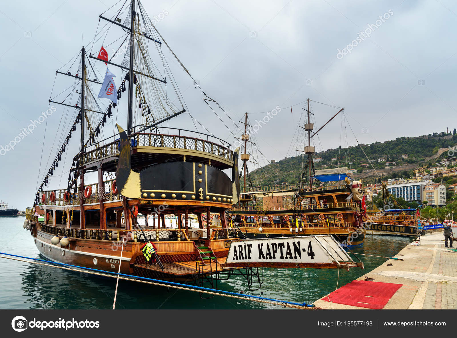 Pirate ships for tourists in the port of Alanya  Turkey