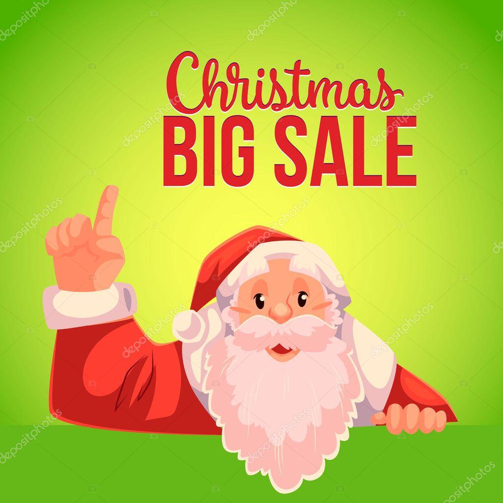 Christmas Sale Banner mit cartoon Weihnachtsmann nach oben ...