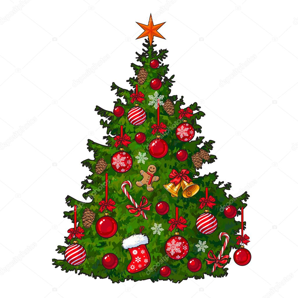 Beautifully Decorated Christmas Tree Isolated On White Background Stock Vector C Sabelskaya 125748786 Gold and red christmas decorations on a. https depositphotos com 125748786 stock illustration beautifully decorated christmas tree isolated html