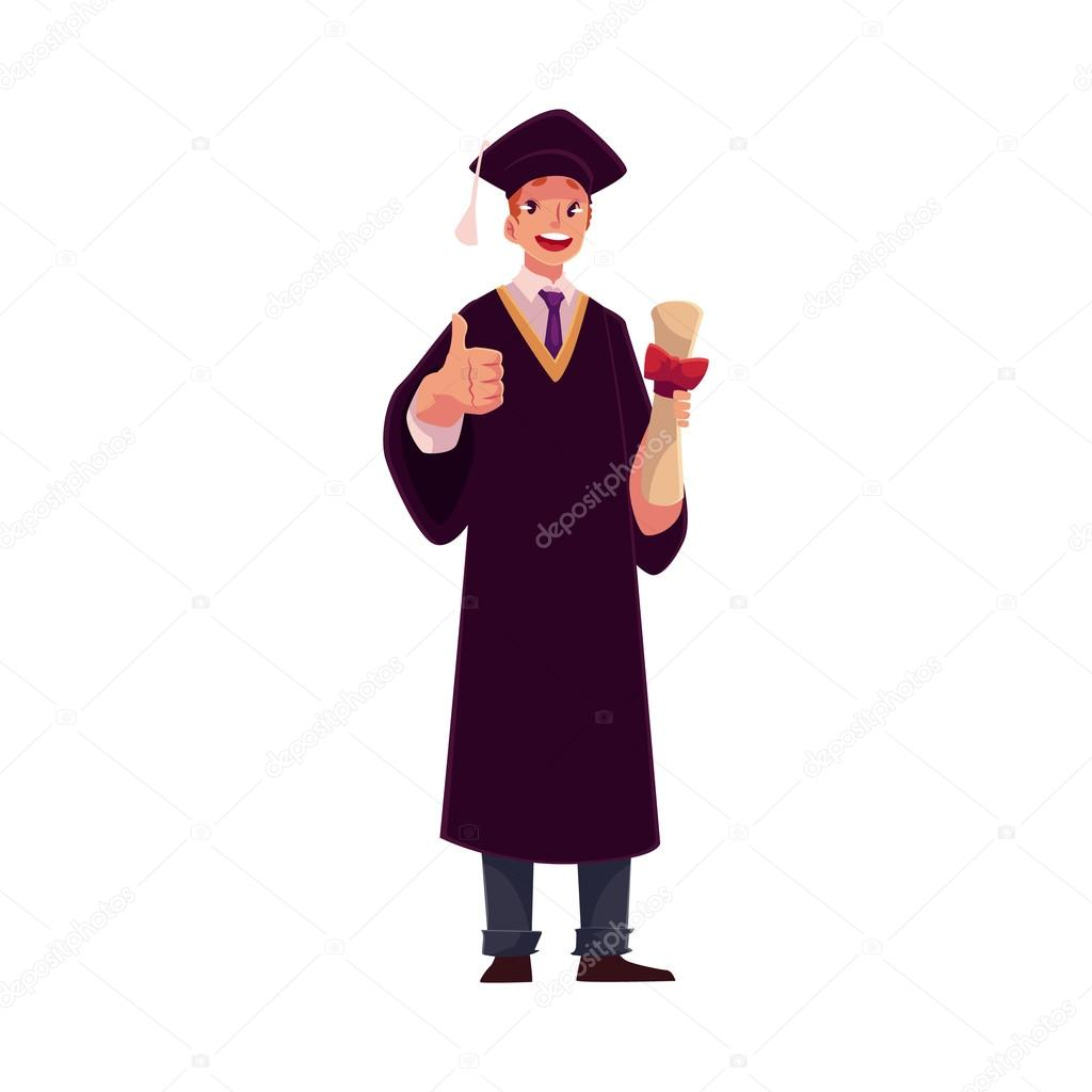 Student in graduation gown and cap with diploma, thumb up — Stock ...