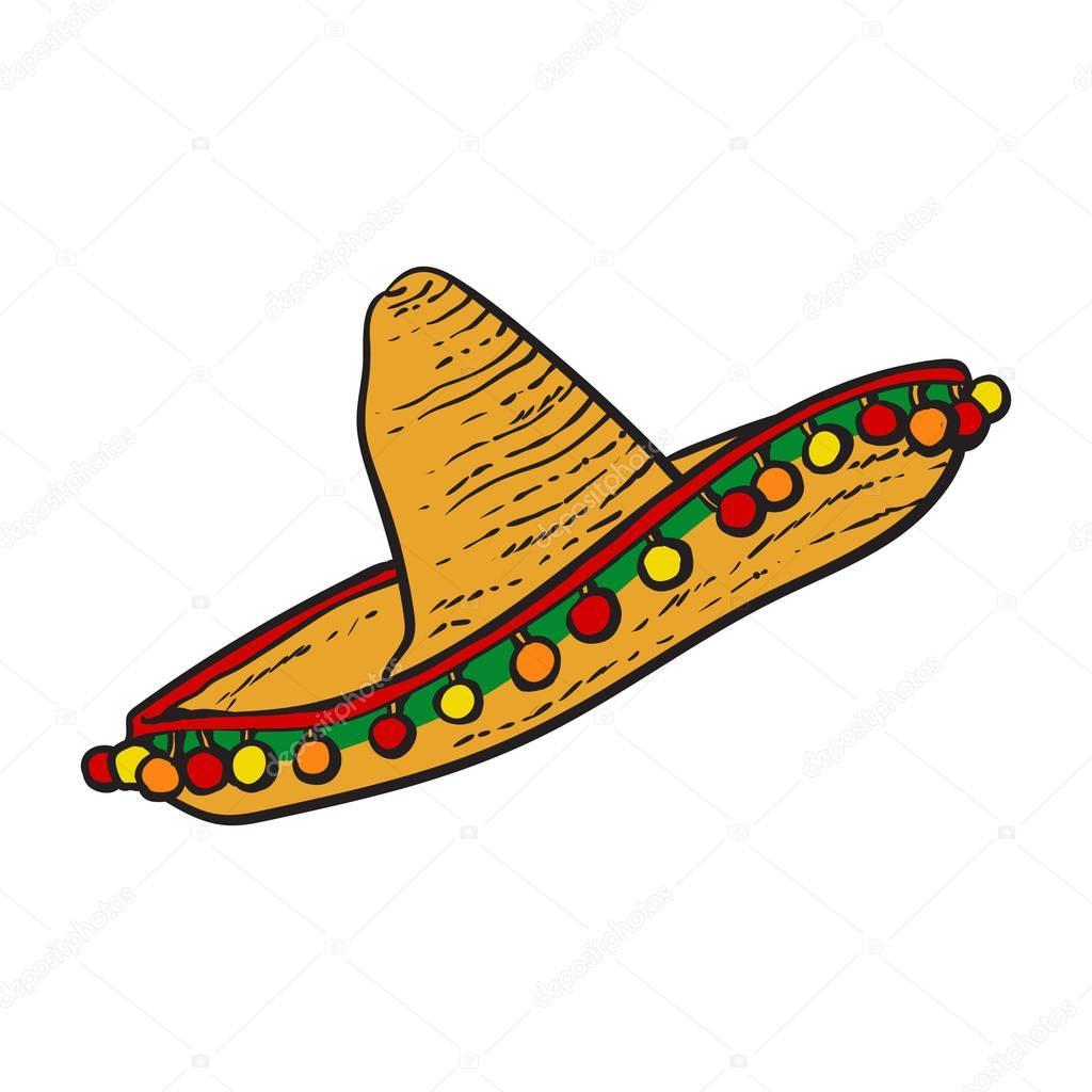0bc4215dc8b91 Tradicional sombrero de ala ancha sombrero mexicano — Archivo Imágenes  Vectoriales