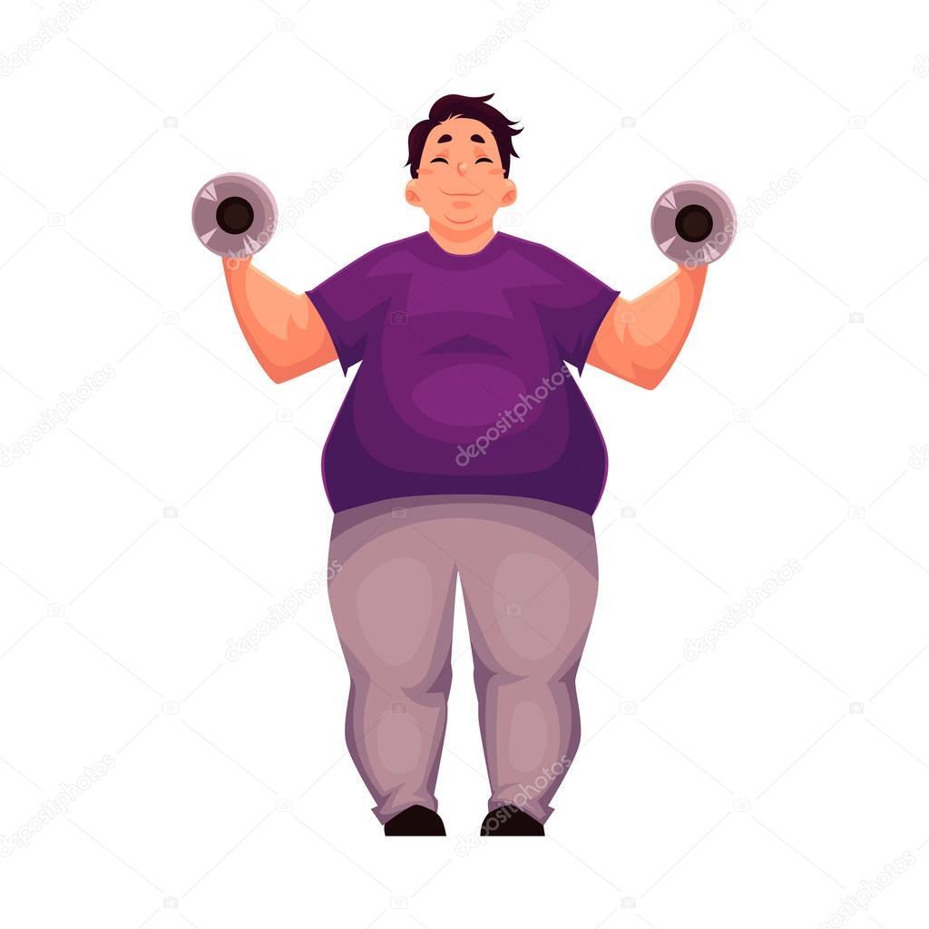 hombre gordo de entrenamiento con pesas hacer ejercicios de
