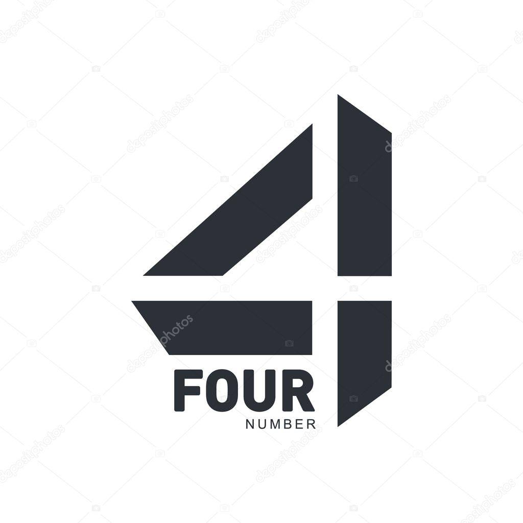 noir et blanc r u00e9sum u00e9 trois mod u00e8le de logo dimensions num u00e9ro quatre  u2014 image vectorielle