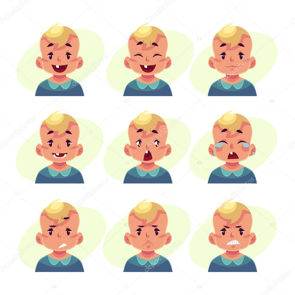 Ensemble D Avatars Garçon Blond Bébé Avec Différentes